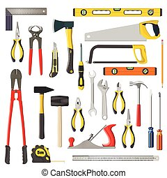 set of vector repair and woodwoork tools on a white...