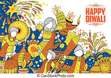 Kid celebrating happy Diwali Holiday doodle background for...