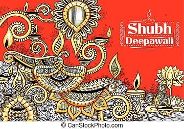 Burning diya on happy Diwali Holiday doodle background for...