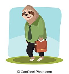 sloth office holding bag