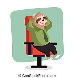sloth office vlazy vector illustration design