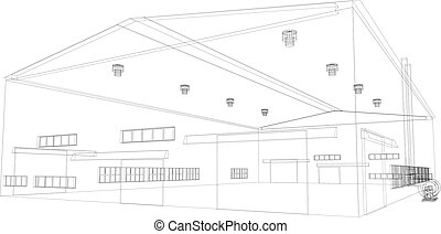 Wire-frame industrial building. Vector - Wire-frame...