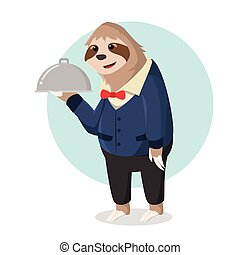 sloth waiter holding food delivery