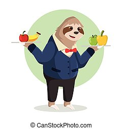 sloth waiter holding fruit delivery
