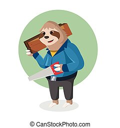 sloth handy holding wooden and hacksaw