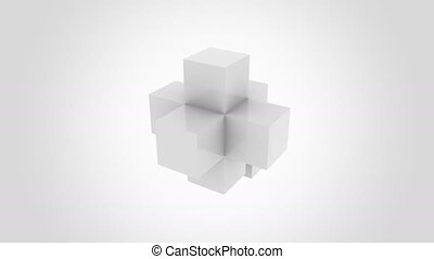 Light grey cubes assembling infinitely. Assembly,...