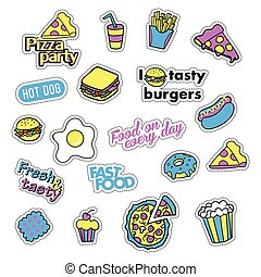 Pop art set with fashion patch badges and different fast food elements. Stickers, pins, patches, quirky, handwritten notes collection. 80s-90s style. Trend. Vector illustration isolated.
