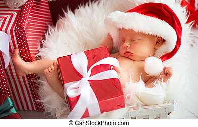sleeper newborn baby in Christmas Santa cap - sleeper...