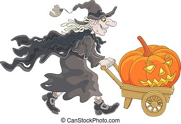 Witch with a Halloween pumpkin - A sorceress carrying on her...