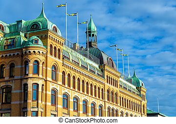 Building in the historic centre of Gothenburg - Sweden -...