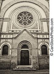 Synagogue in Novi Sad, Serbia. - Big wooden entrance door at...