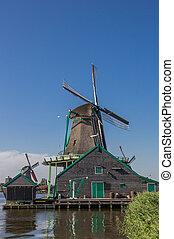 Historyczny, Holenderski, wiatrak, w, Zaanse, Schans