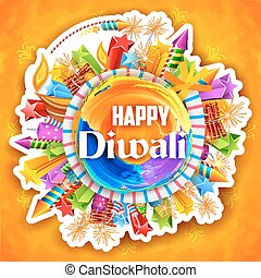 Colorful watercolor diya and fire cracker on Happy Diwali background for light festival of India
