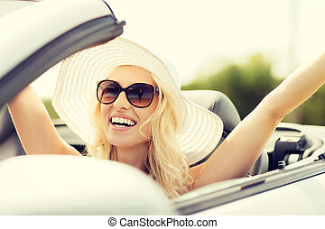 happy woman driving in cabriolet car - transport, leisure...
