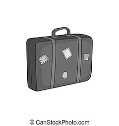 Travel suitcase icon, black monochrome style - icon in black...
