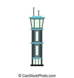 Airport tower icon, flat style - icon in flat style on a...