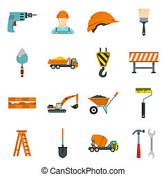 Construction icons set, flat style - Construction icons set...