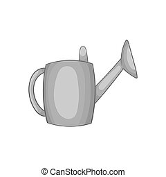 Watering can icon, black monochrome style - Watering can...