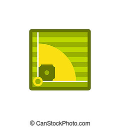 Baseball field icon, flat style - icon in flat style on a...