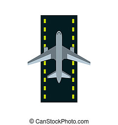 Airstrip with airplane icon, flat style - icon in flat style...