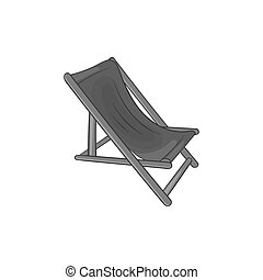 Beach chaise icon,black monochrome style - icon in black...