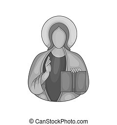 Jesus Christ icon, black monochrome style - Jesus Christ...