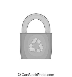 Padlock with recycling symbol icon