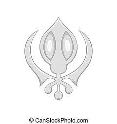Sign sikhism icon, black monochrome style - Sign sikhism...