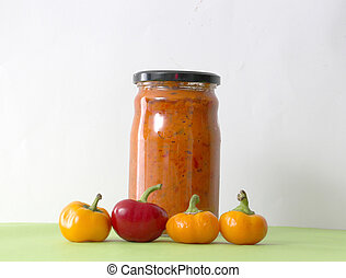 Traditional Macedonian food. Ajvar in jar . homemade product...