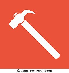 The hammer icon. Hammer symbol. Flat