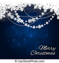 Merry Christmas card on blue background. vector illustration