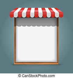 white frame with red awning