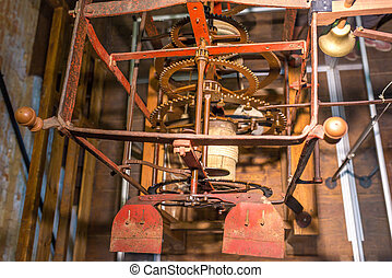 Gear giant clock, bell, Chioggia, Italy