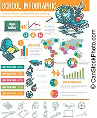 Back to School infographic banner background Education...
