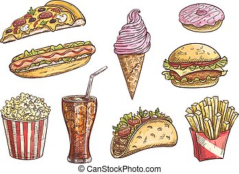 Fast food sketch isolated icons