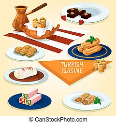 Turkish cuisine delights and desserts icon - Turkish cuisine...