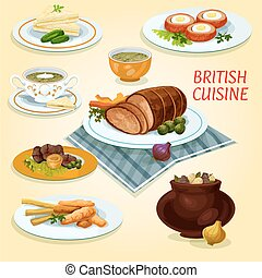 British cuisine traditional dishes for lunch icon - British...