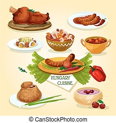 Hungarian cuisine signature dishes icon with spicy sausages,...