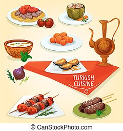 Turkish cuisine kebab meat dishes icon