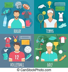 Rugby, tennis, volleyball, golf sport icons