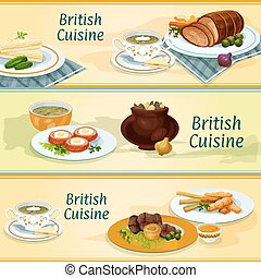 British cuisine traditional dishes for menu design - British...