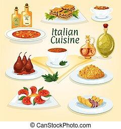 italiano, cucina, popolare, Piatti, icona