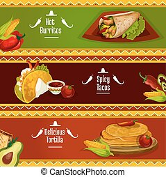 Mexican cuisine taco, burrito and tortilla banners - Mexican...