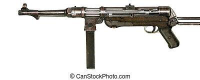 MP-38 Machinegun Isolated on White - German Submachine gun...
