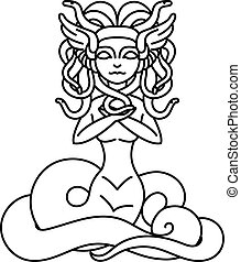 Flat linear Medusa Gorgona illustration