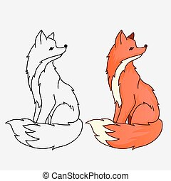 Red fox sitting illustration