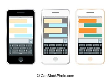 Mobile messenger chat, hands with smartphone sending a message. Isometric flat design, vector illustration. Smartphone keyboard, mobile phone keypad vector mockup. Keyboard for mobile device