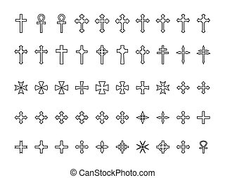 Big collection of crosses contours isolated on white...