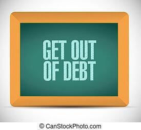 get out of debt chalkboard sign concept illustration design...