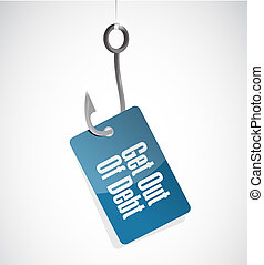 get out of debt hook sign concept illustration design...
